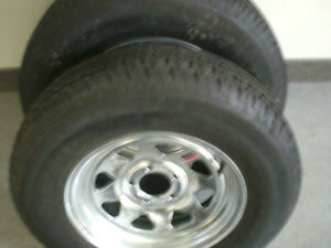 NEW - ST 225/75 R15 - RADIAL TIRES on GALVANIZED RIMS - CLENTEC