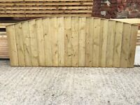 🌲Tanalised Bow Top Close Board Feather Edge Fence Panels