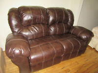 WANT TO TRADE MY 2/3 LEATHER COUCH 4 RECLINER OR NARROWER 2 SEAT