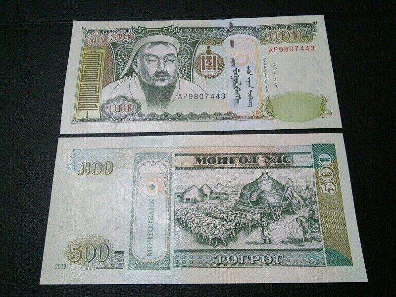 $500 X2 Mongolia Tugrik Mongolian $1000 Ghengis Khan UNC Currency 2013 Banknote