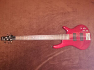 Red Ibanez 5-string Bass