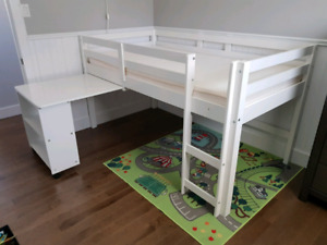 Kids loft bed with pull out desk and shelving