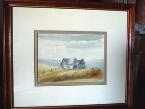 Two Beautiful Watercolor Farming Landscapes by Des Major 1985