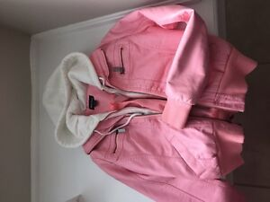 Girls pink leather hoody