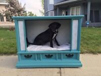 Recycled old console tv now the cutest pet bed in town