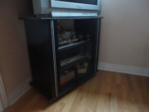 Wooden black/glass doors front TV stand media storage unit London Ontario image 2