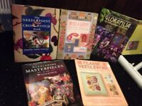 5 needlepoint and cross stitch books