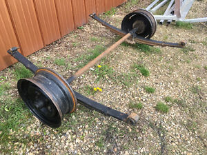 trailer axle, leafs and wheels