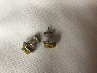 Vintage Green Amber and silver stud earrings
