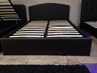 New double leather gas lift bed frame