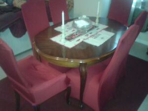 DINING TABLE SET (8)-QUEEN ANNE
