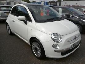 2012 Fiat 500 1.2 ( 69bhp ) ( s/s ) LOUNGE 62K Panoramic Roof Bluetooth White VG