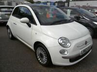 2012 Fiat 500 1.2 ( 69bhp ) ( s/s ) LOUNGE 62K Panoramic Roof Bluetooth White VG