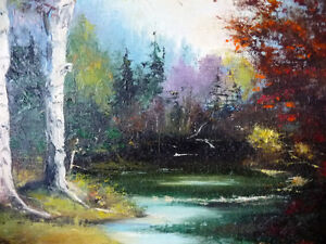 "Original Oil Painting by E. Tyson ""Forest Study"" 1976 Stratford Kitchener Area image 5"