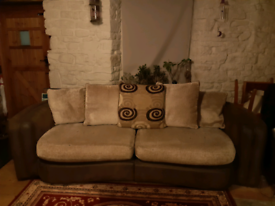 Large leather and chenille sofa
