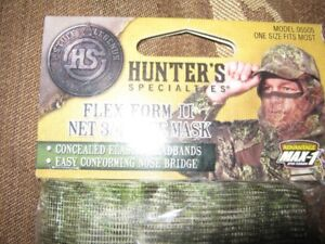 hunter's flex form ll net 3/4 camo face mask with camo bb cap.