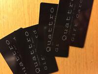 HALF PRICE >> $100 Gift cards at QUATTRO BAR/RESTAURANT