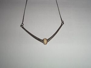 Vintage Italian 925 Silver and Opal Necklace