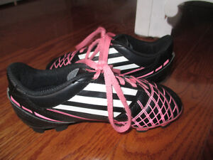 Adidas Girls Pink and Black Soccer Cleats Size 13