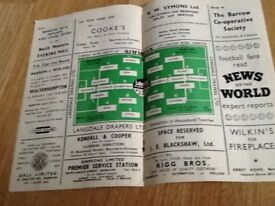 1959 barrow v wolves fa cup football programme