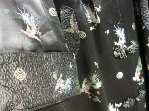 VINTAGE HERMAN CO LONG JAPANESE KIMONO ROBE DRESS SHIMMERY BLACK W PEACOCK BIRDS