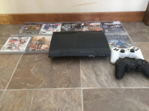 PS3 System Console with controller and games