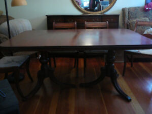 Antique mahogany dining table Drexel double pedestal