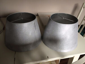 Two silver lamp shades