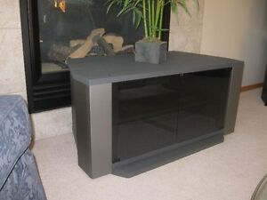 SOLID, SWIVEL TV STAND WITH TWO GLASS DOORS