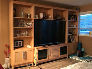 Solid Natural Maple TV unit with matching bookcases