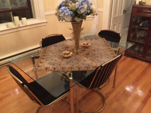 Brass Dining Room Table and Chairs