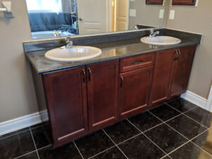 Master Washroom Vanity, Mirror, Double Sink,Ceiling fan and more