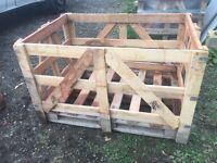 Hardwood crate log store or compost bin