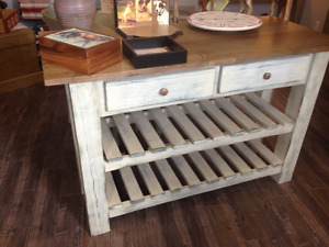 NEW! All Wood Brockton Console TV Stand/Kitchen Island Buffet