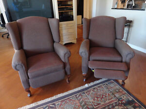"Two reclining arm chairs, ""Bergère"" type"