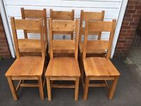 Set of 6 solid oak chairs barker and stonehouse very good condition
