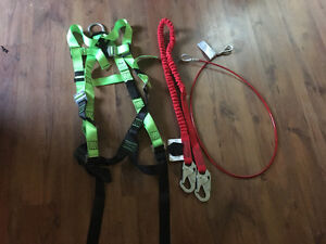 Fall arrest harness and lanyards, never used