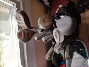 Set of golf clubs with top flite bag