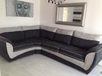 Corner couch and swivel chair with small twister stool