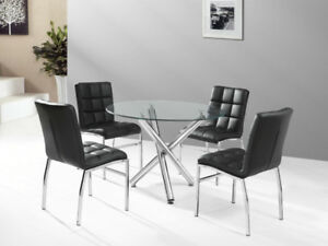 Round Tempered Glass Dinette With 4 Chairs $399.