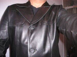 Fitted 3/4 Length Real Leather mens Jacket  Classic Mac Coat