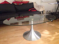 Design coffee table - glass and steel