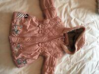 Girls pink coat 2-3 years plus hat/ mitten set