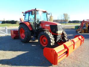 tracteur, kubota, m, 4x4, cabine, gratte, souffleur, déneigeur