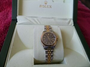 ROLEX DATEJUST 18K 2 TONE JUBILEE BAND BLK DIAL GREAT CONDITION