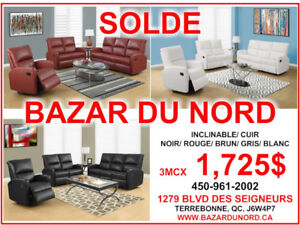 SOLDE! SECTIONNEL/ INCLINABLE/ SOFAS- Garantie