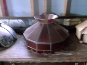 ANTIQUE TIFFANY STYLE LIGHT WITH RED AND AMBER GLASS St. John's Newfoundland image 1