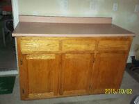Solid Oak Cabinet:  3 Drawers, Doors, Shelves and Countertop