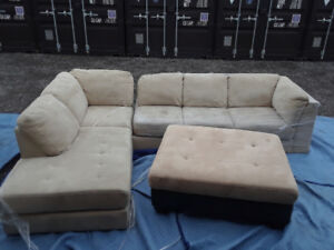 Sectional suede sofa