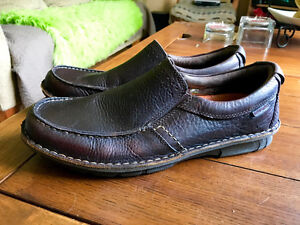 Leather Hush Puppies Slip On Loafers Brown